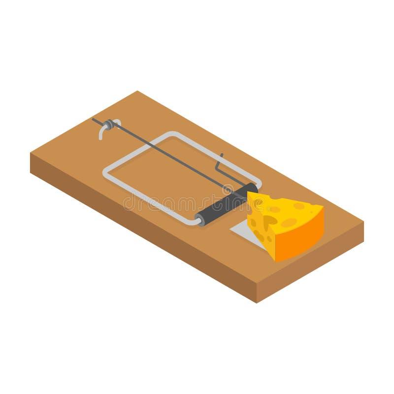 Ratoeira e queijo isolados Armadilha do rato Cilada do roedor Ilustração do vetor ilustração stock