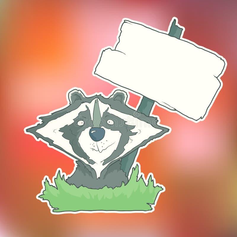 Raton laveur de personnage de dessin animé avec l'affiche en bois illustration de vecteur