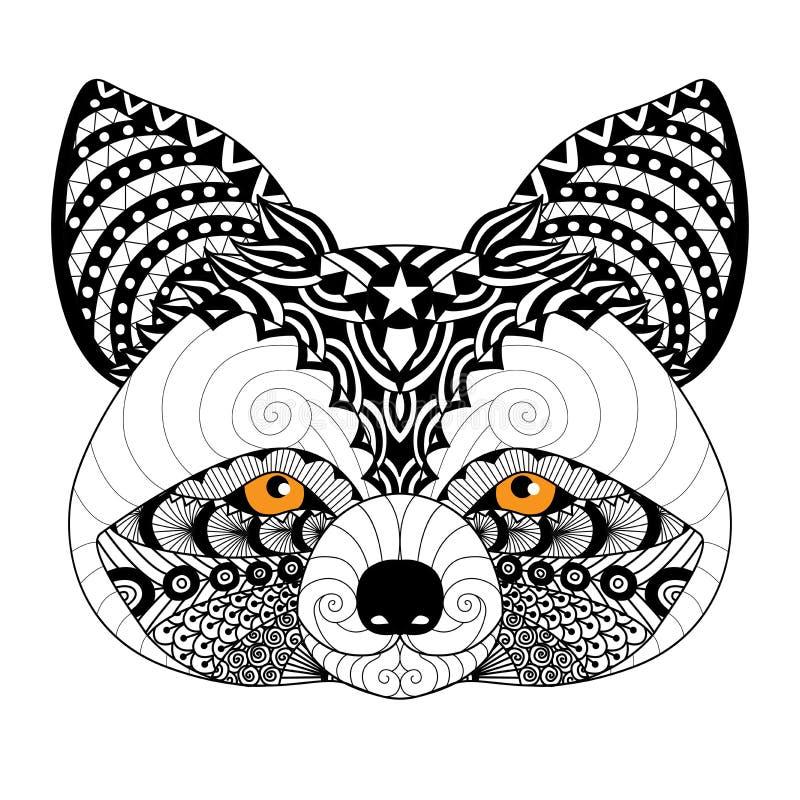 Raton laveur de Zentangle pour la page de coloration pour l'adulte, le tatouage, le logo, la conception de chemise et d'autres dé illustration de vecteur