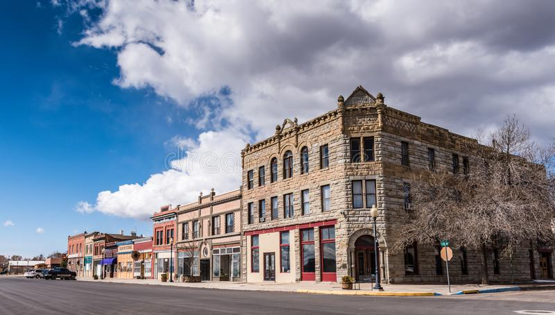 American Western Town. Raton, New Mexico / USA / April 1, 2016: Historic western town of Raton, NM is a stop on the Southwest Chief Amtrak train route stock photos