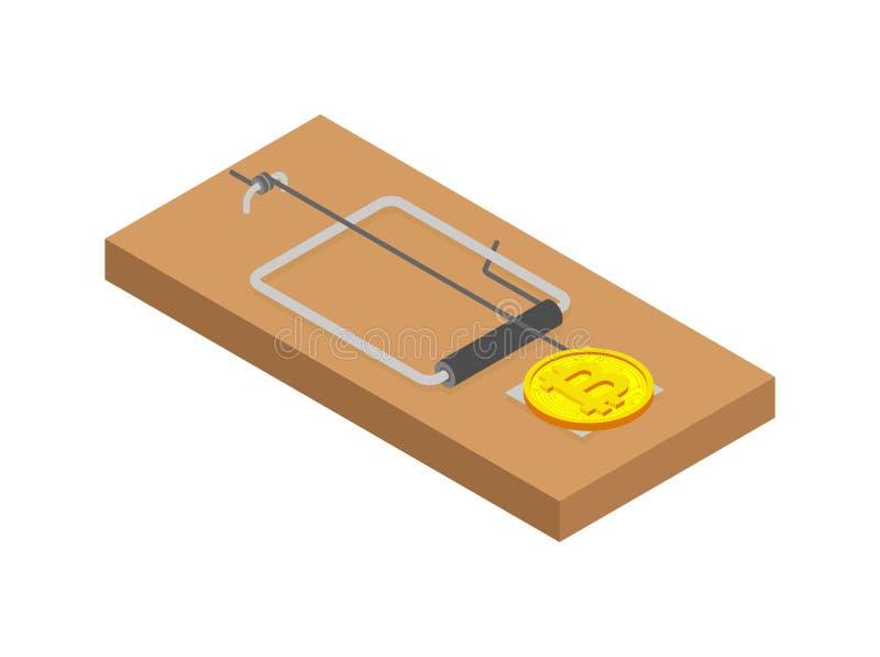 Ratonera Bitcoin Trampa y Cryptocurrency del ratón Engaño del negocio del concepto libre illustration