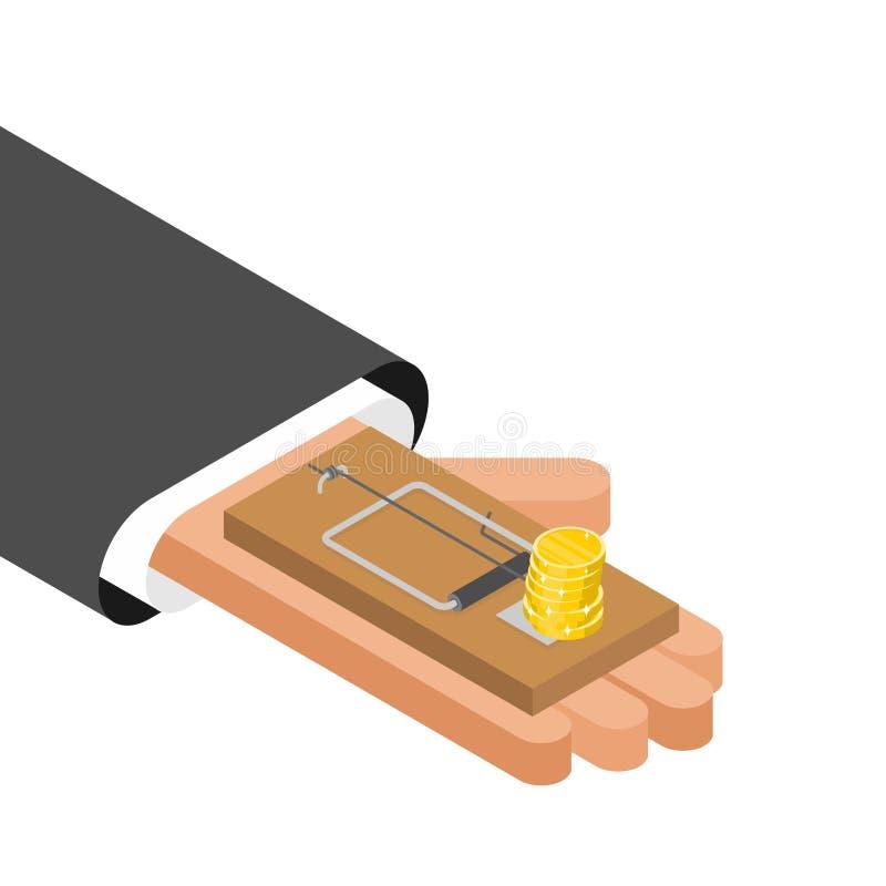 Ratonera y dinero Trampa del ratón y moneda de oro Engaño del negocio del concepto ilustración del vector