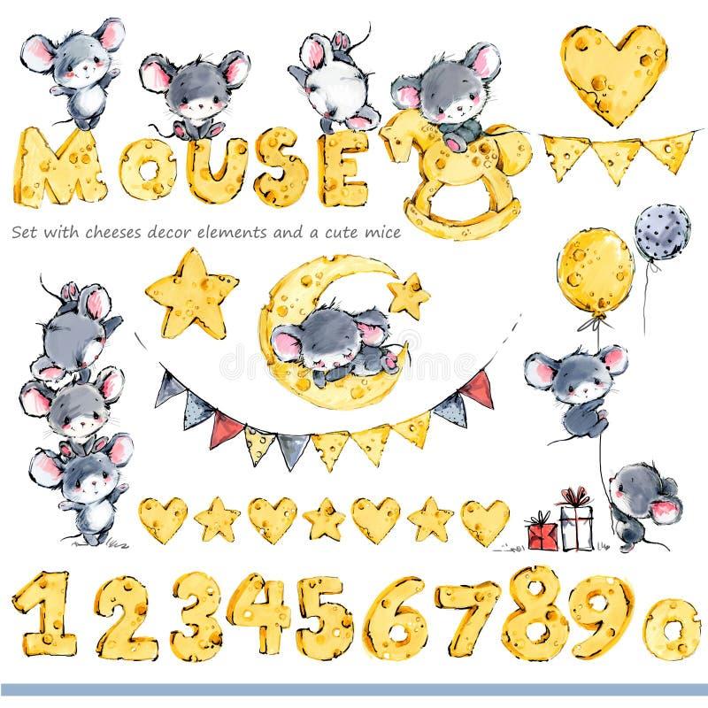Ratones lindos que saludan el fondo Ratón divertido de la historieta ilustración del vector