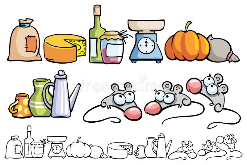 Ratones y artículos divertidos de la cocina libre illustration