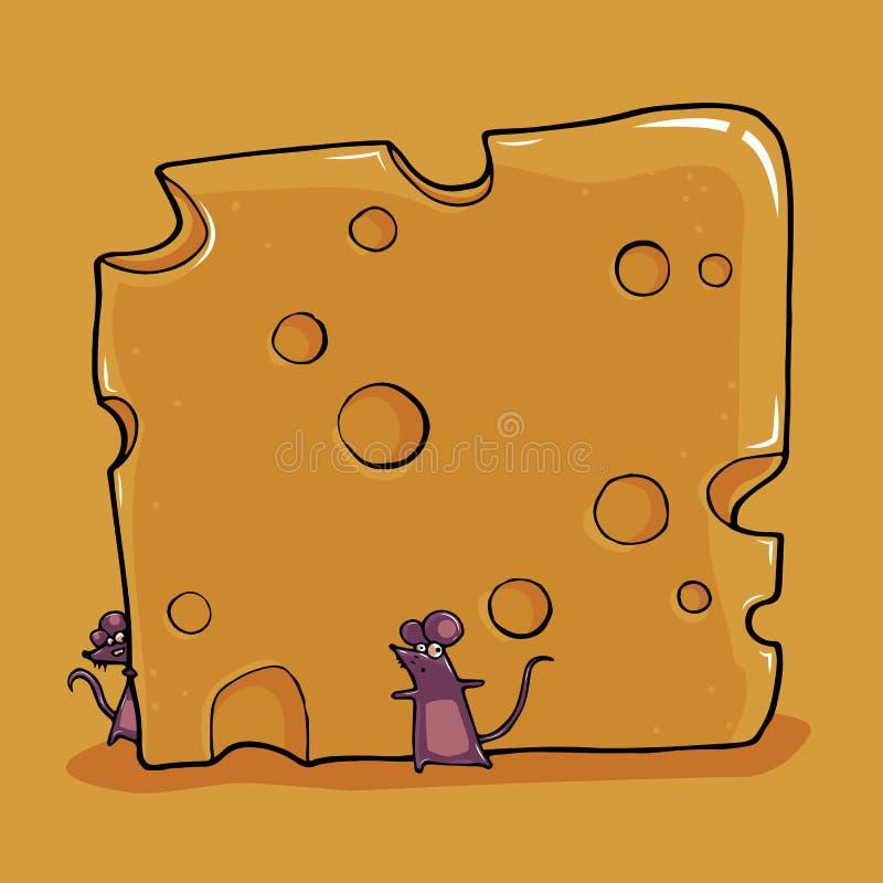 Ratos pequenos com queijo ilustração do vetor