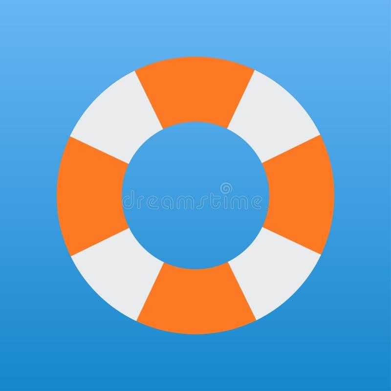 ratować ringową białą i pomarańczową wektorową ikonę ilustracja wektor