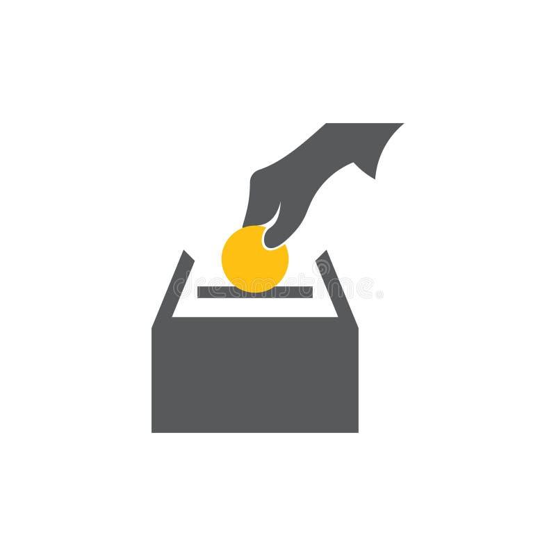 Ratować złocistą monetę w pudełkowatym symbolu wektorze ilustracji