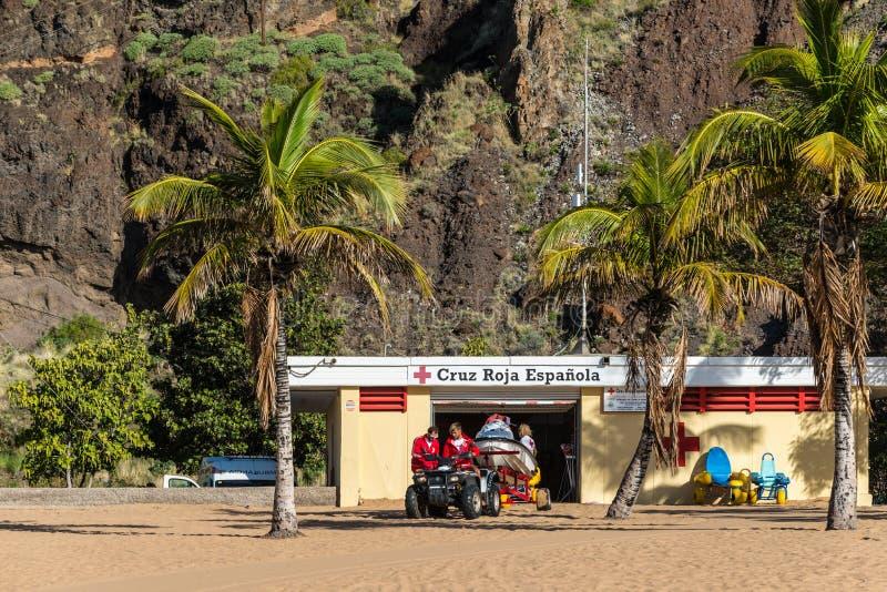 Ratownicza stacja na Lasu Teresitas plaży obraz royalty free