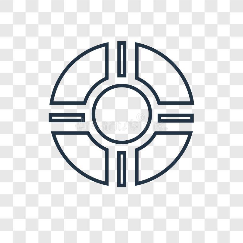 Ratowniczego tubki pojęcia wektorowa liniowa ikona odizolowywająca na przejrzysty b ilustracji