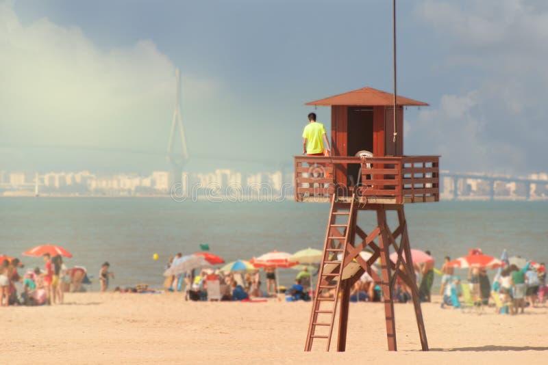 Ratownik na plaży na wierza Hiszpania obraz royalty free