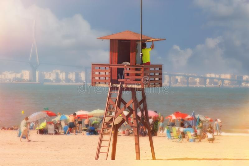 Ratownik na plaży na wierza Hiszpania zdjęcie royalty free