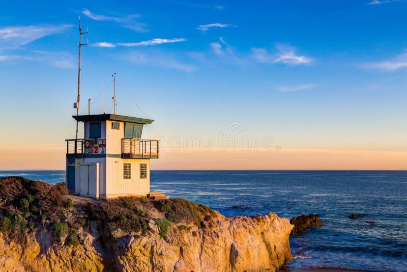 Ratownik stacja przy zmierzchem w Południowym Kalifornia zdjęcie royalty free