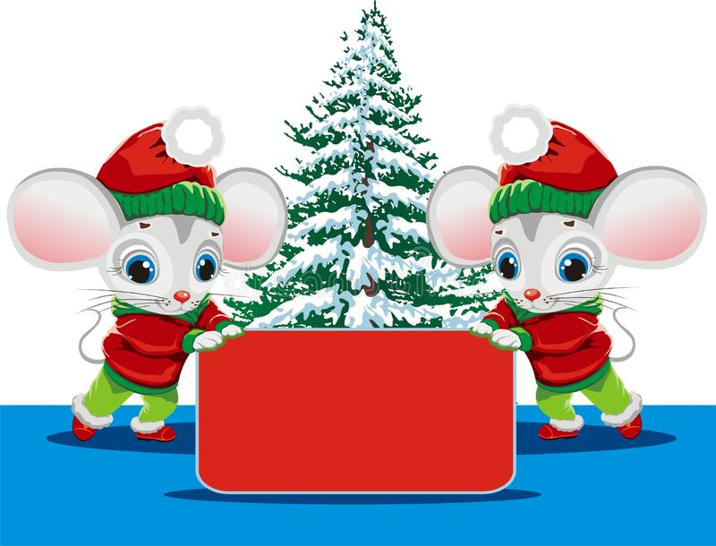 Rats in Christmas clothes hold a sign under the tree royalty free stock photo