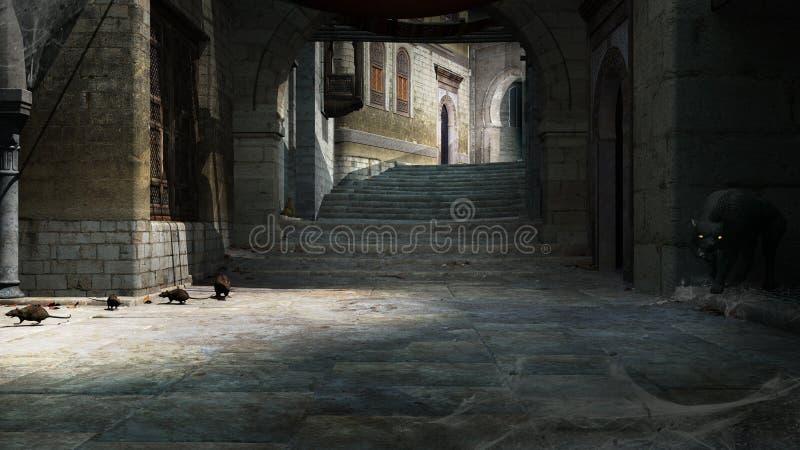 Rats sur le vieux trottoir en pierre illustration de vecteur