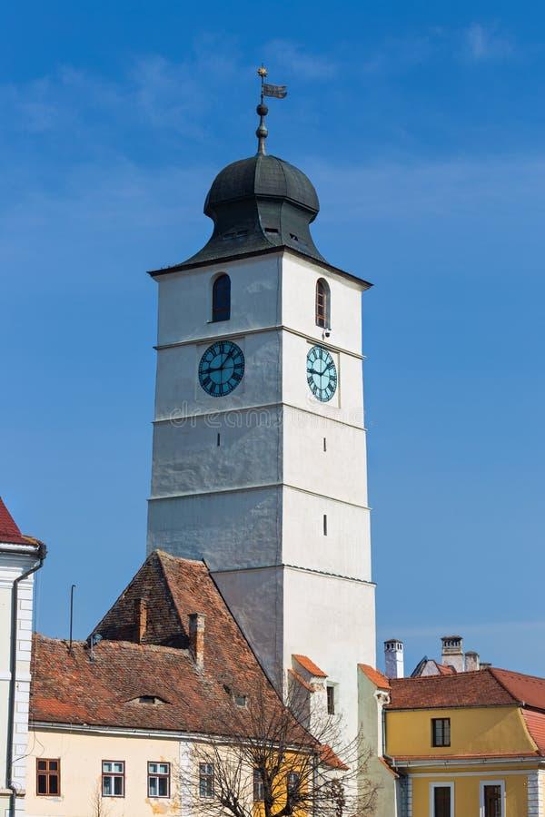 Rats-Turm in Sibiu lizenzfreie stockfotos