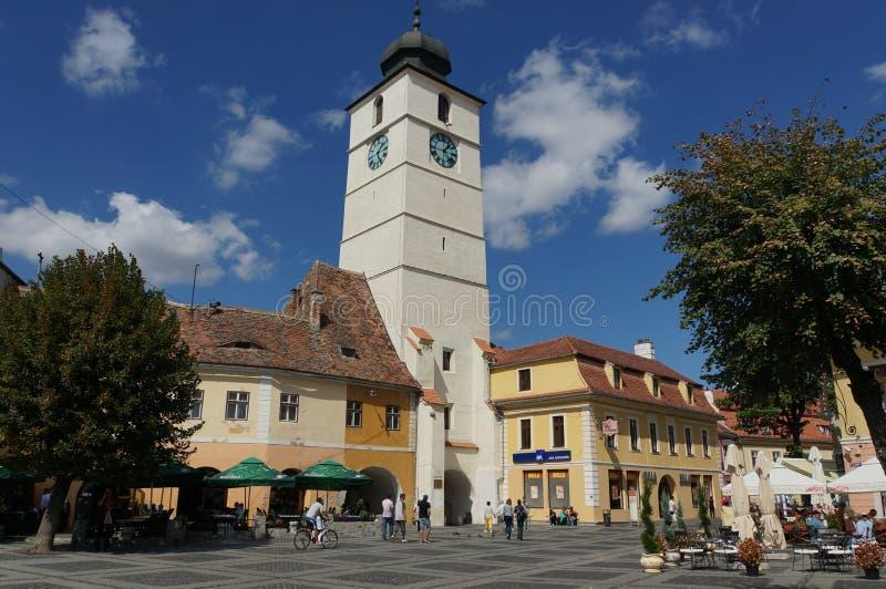 Rats-Turm in Sibiu, Rumänien lizenzfreie stockfotografie