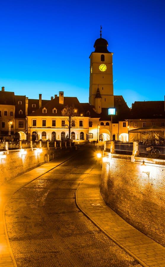 Rats-Turm, Sibiu, Siebenbürgen lizenzfreies stockfoto