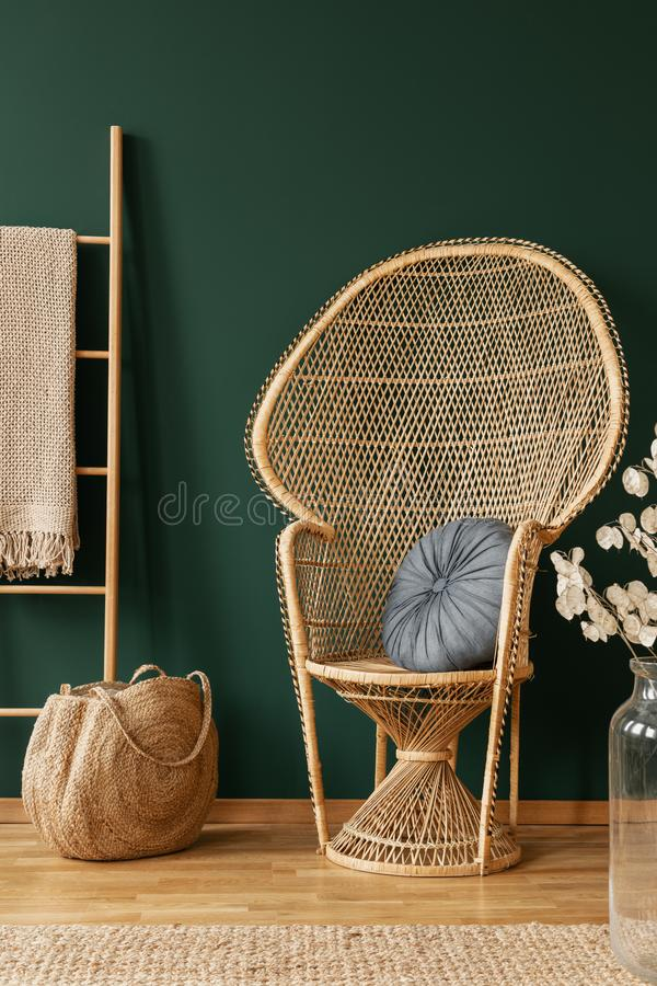 Rattan chair next to bag and ladder in green living room interior with flowers and rug. Real photo. Chair next to bag and ladder in green living room interior royalty free stock photography