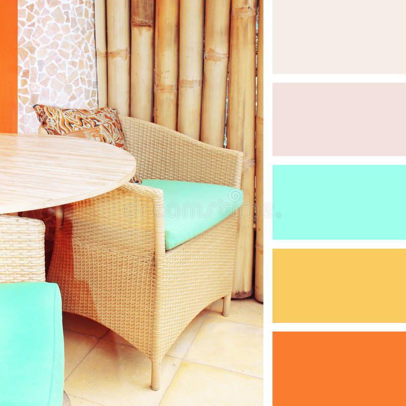 Rattan furniture. color palette swatches. Pastel hues stock photos