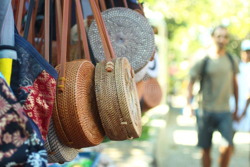 Balinese bags and souvenirs stock image
