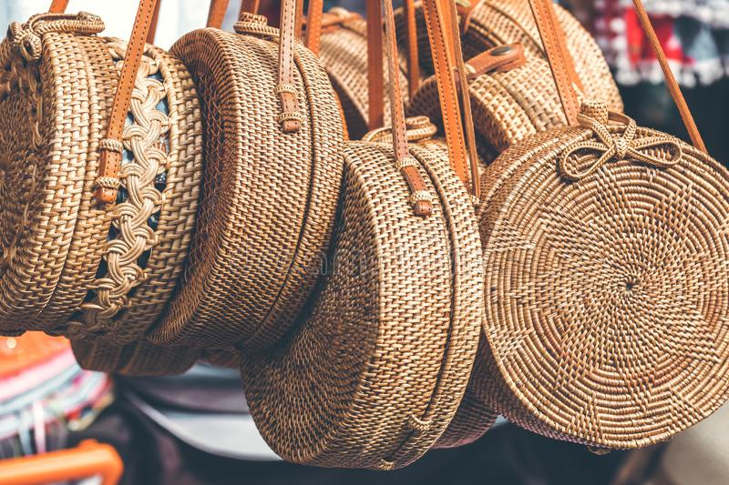 Rattan round bags at a street shop. Bali, Indonesia. stock photo