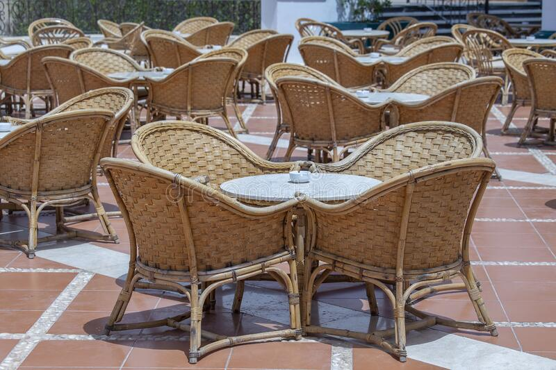 Rattan Table And Chairs In Beach Cafe Near Swimming Pool ...