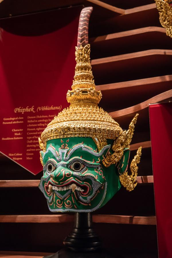 Rattanakosin Exhibition Hall : Bangkok, Thailand - June 17, 2018 - The display of Thai ancient traditional mask or 'Hua Khon' stock photos