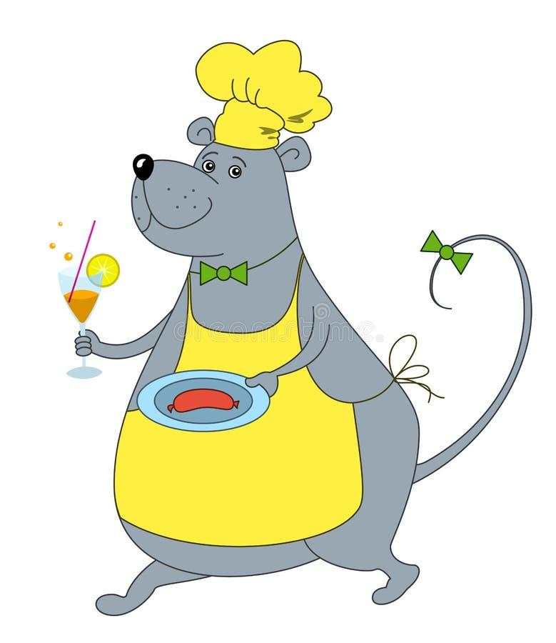 Ratte-Kellner mit Wurst vektor abbildung