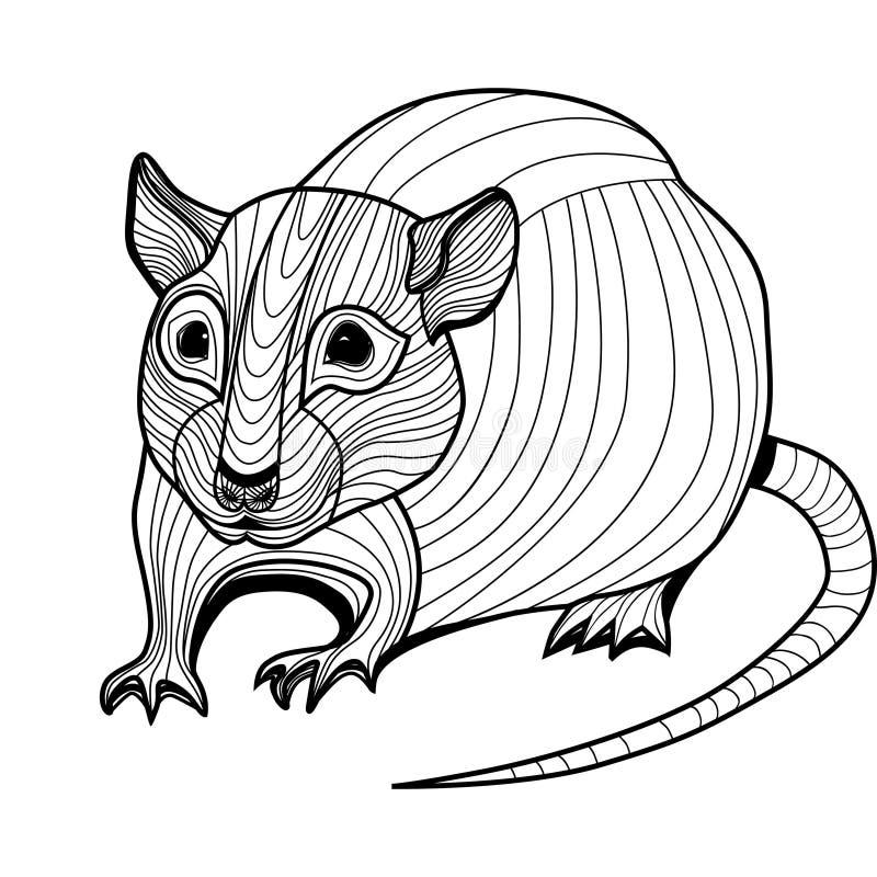 Ratten- oder Mäusehauptvektortierillustration für T-Shirt. stock abbildung