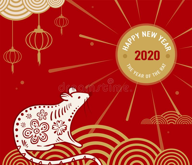 2020 Rattenguten rutsch ins neue jahr-Vektorhintergrund, chinesisches Fahnenkonzept Lokalisierte Grußkarte mit Mäusestellung auf vektor abbildung