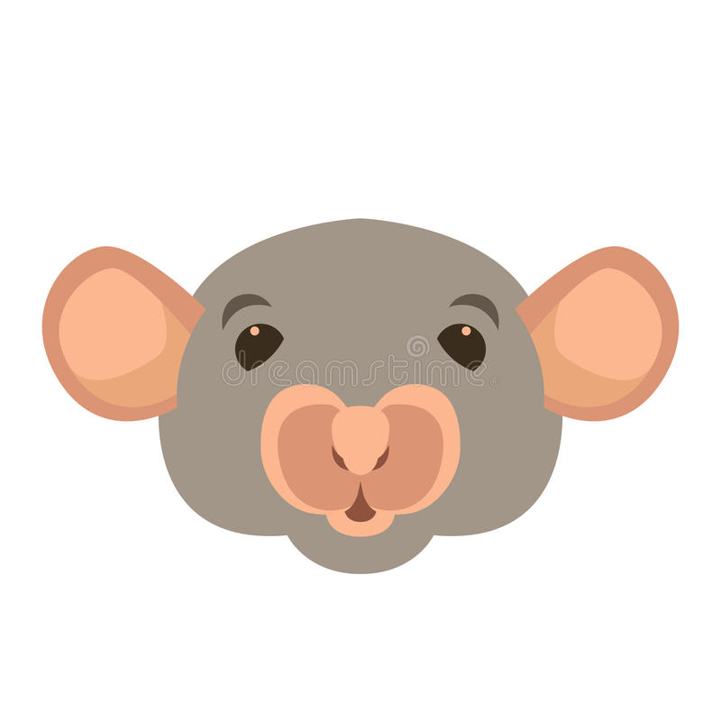 Rattenhauptgesichtsvektor-Illustrationsart flach lizenzfreie abbildung