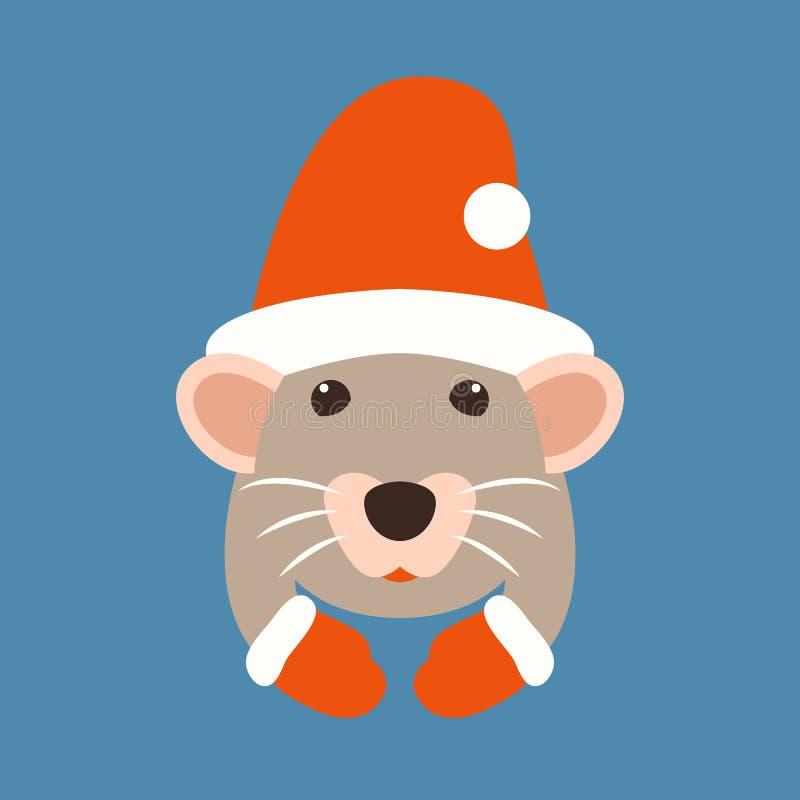 Rattenhauptkarikaturvektor-Illustrationsart flach vektor abbildung