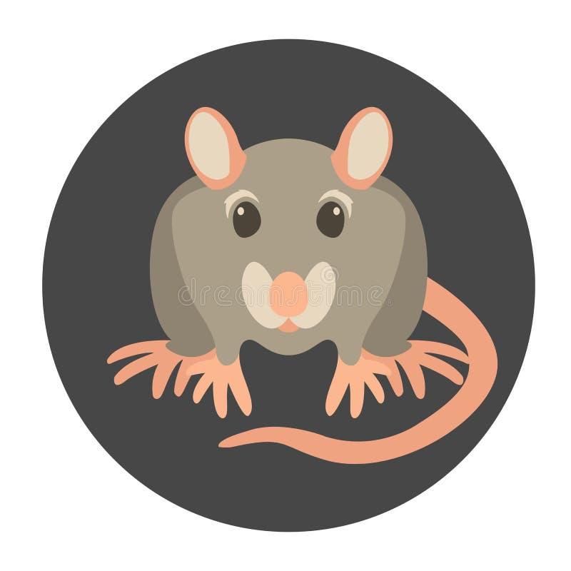 Rattenkarikaturvektor-Illustrationsart flach lizenzfreie abbildung