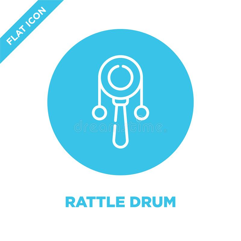 rattle drum icon vector from baby toys collection. Thin line rattle drum outline icon vector  illustration. Linear symbol for use vector illustration