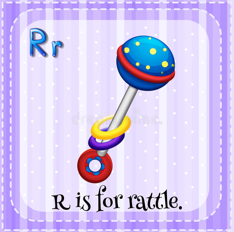 Rattle. Flashcard letter R is for rattle stock illustration
