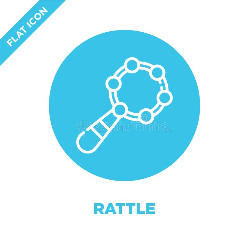 rattle icon vector from baby toys collection. Thin line rattle outline icon vector  illustration. Linear symbol for use on web and stock illustration