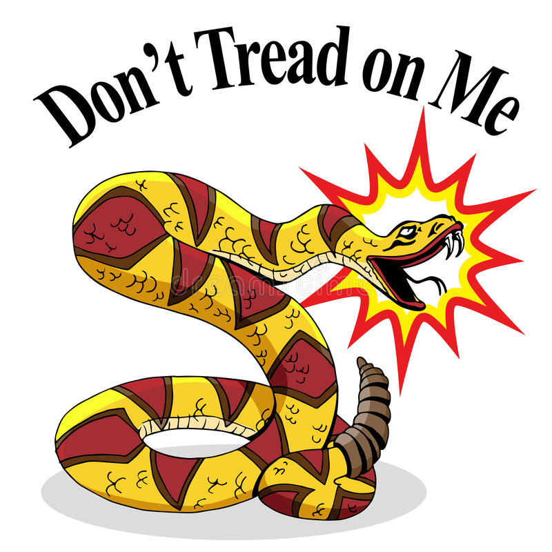 Rattlesnake Dont Tread On Me. An image of a rattlesnake with don't tread on me text vector illustration