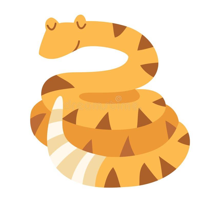 rattlesnake Vlakke beeldverhaal vectorillustratie vector illustratie