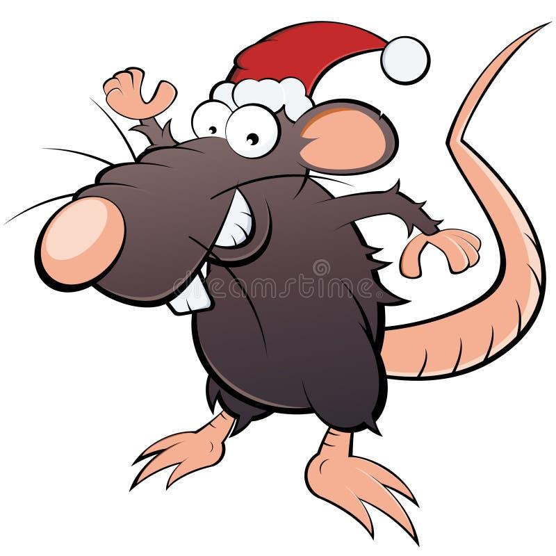 Ratto in cappello del Babbo Natale illustrazione di stock