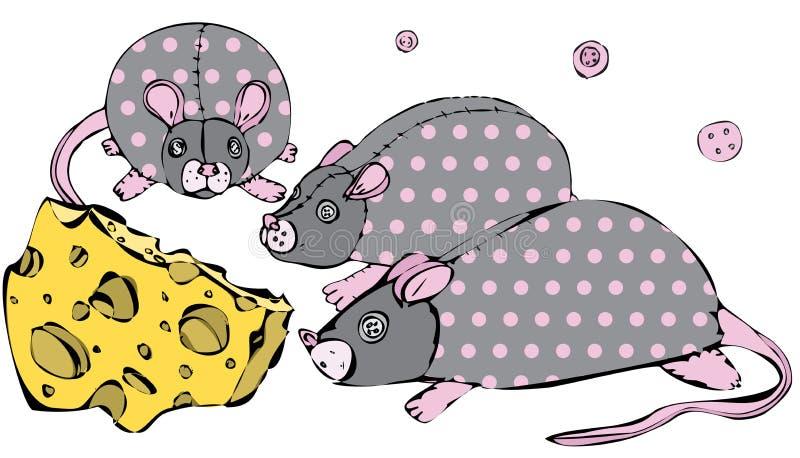 Ratto del giocattolo di vettore 3 con i occhio-bottoni e punti rosa e formaggio illustrazione vettoriale