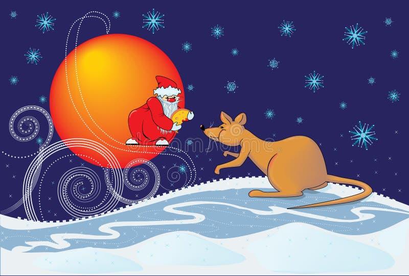 Ratto ed il Babbo Natale illustrazione di stock