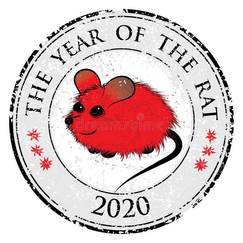 Ratto, segno cinese dell'animale dell'oroscopo del topo L'immagine di arte del bollo di vettore nello stile decorativo illustrazione di stock