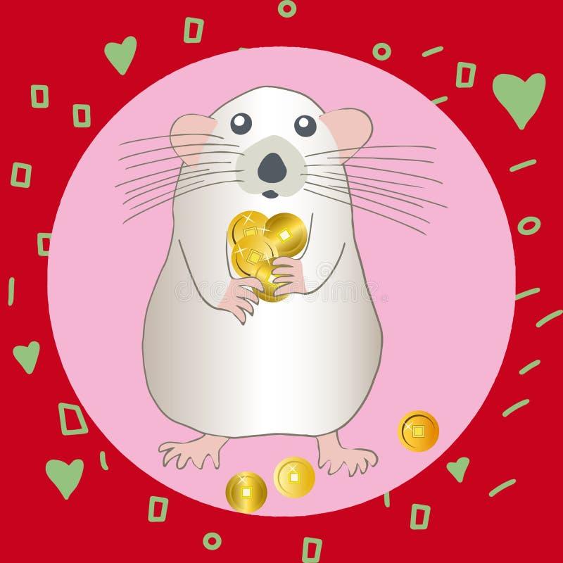 Ratto sveglio del metallo bianco con le monete di oro Fondo rosso illustrazione di stock