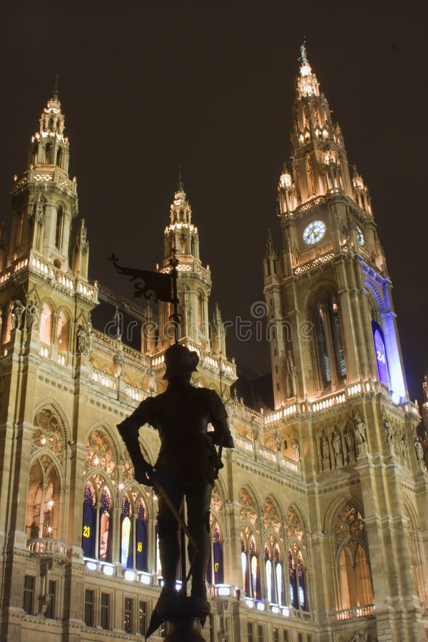 ratusza sylwetka Vienna rycerza obraz royalty free
