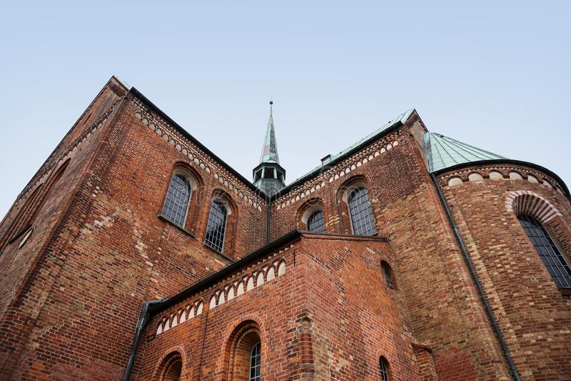 Ratzeburg dom, backside of the cathedral with the ridge turret i royalty free stock photography