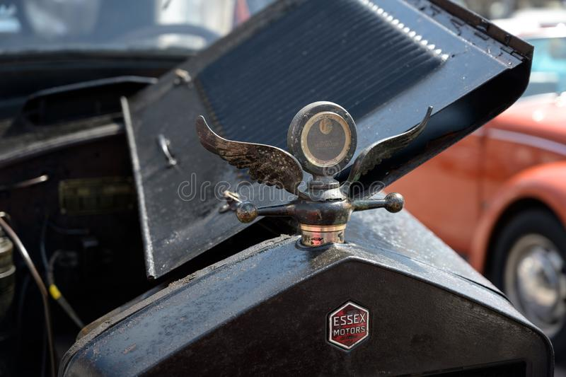 RATZEBURG, GERMANY - JUNE 2, 2019: Essex,  front view, grille and valve with hood ornament, detail of the classic automobile at royalty free stock image