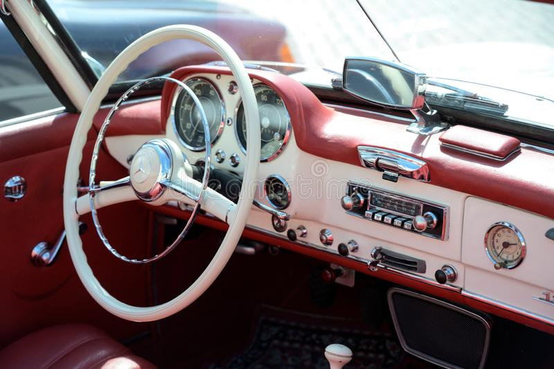 RATZEBURG, GERMANY - JUNE 2, 2019: mercedes 190 sl, cockpit interior of the two-door luxury roadster cabriolet, a classic royalty free stock photos