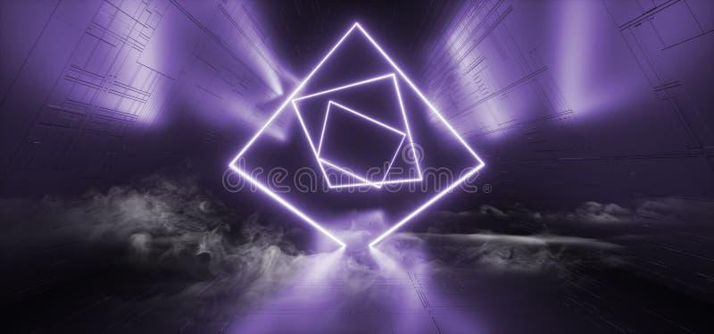 Rauch-Stadiums-Nachtklub-Neonbau-Disco-Mode-Technologie-Laserstrahlpurpur blaue glühende dunkle Retro- Sci FI futuristisch stock abbildung