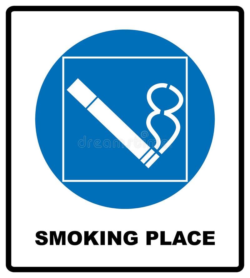 Rauchen permited in dieser Platzikone Raucherzone Rundes blaues Zeichen mit weißem Piktogramm und Schwarzes simsen Abbildung vektor abbildung