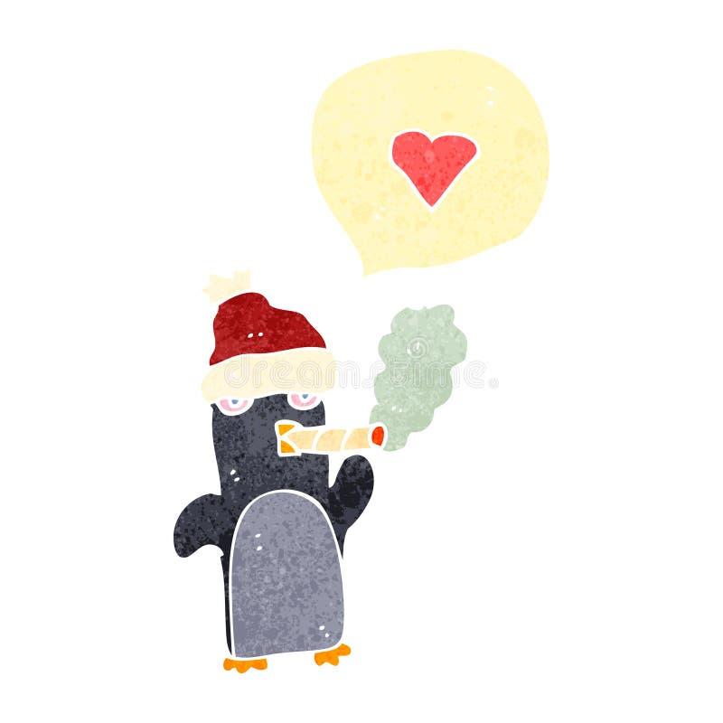 rauchender Pinguin der Retro- Karikatur lizenzfreie abbildung